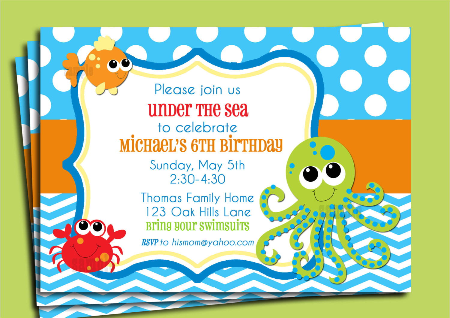 under the sea invitation printable or