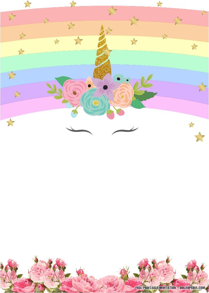 Unicorn Birthday Invitation Template Hd Free Printable Golden Unicorn Birthday Invitation Template