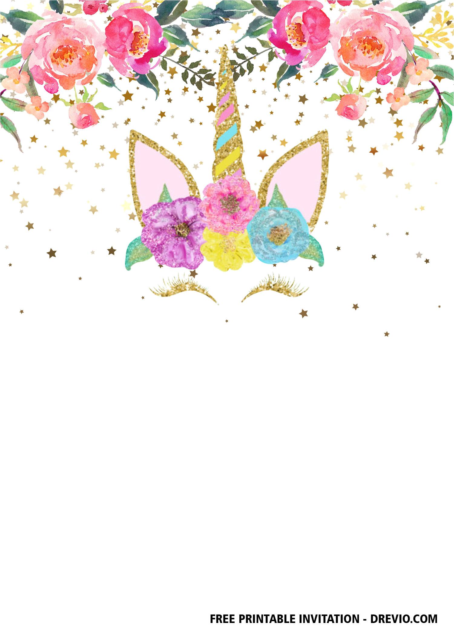 free printable unicorn invitation templates