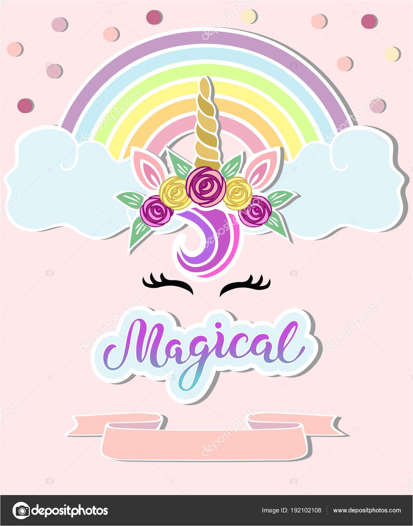 stock illustration template unicorn horn tiara rainbow