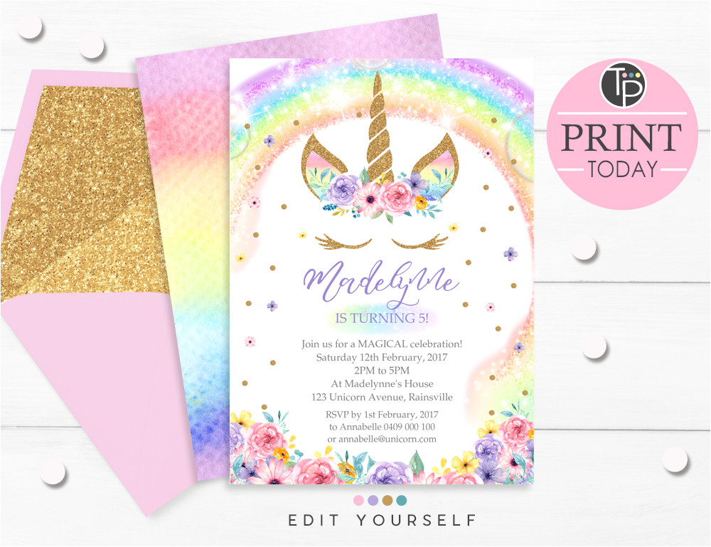 rainbow unicorn invitation com