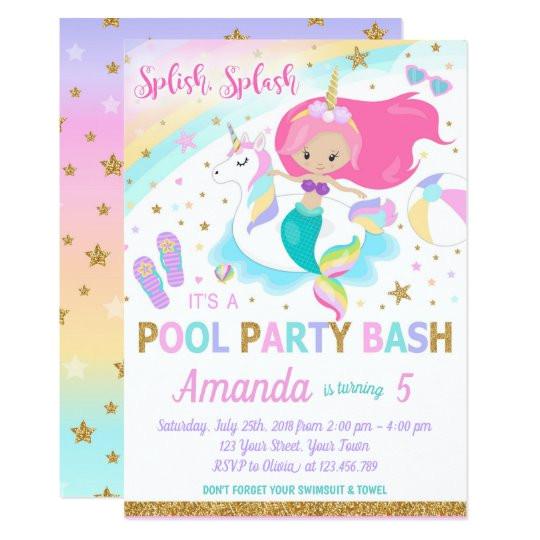 mermaid unicorn pool party invitation 256979930480366260