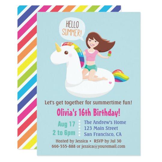 sweet 16 unicorn pool float summer birthday party invitation 256256093718664072