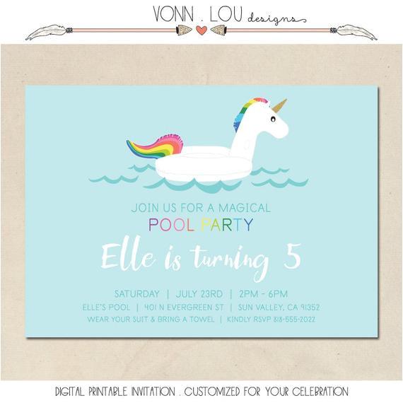 unicorn invitation unicorn pool party
