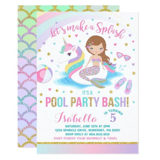 unicorn mermaid pool party birthday invitation 256399450187369432