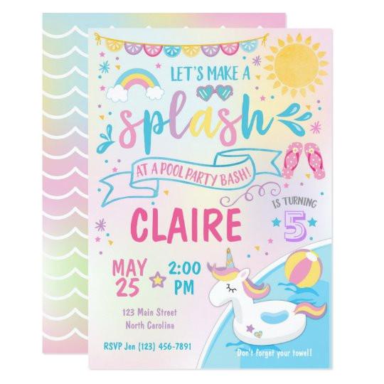 unicorn pool party invitation pool bash birthday invitation 256647616244011977