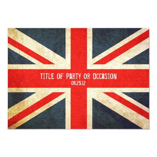 grunge union jack party invitation uk invitation 161742673463814554