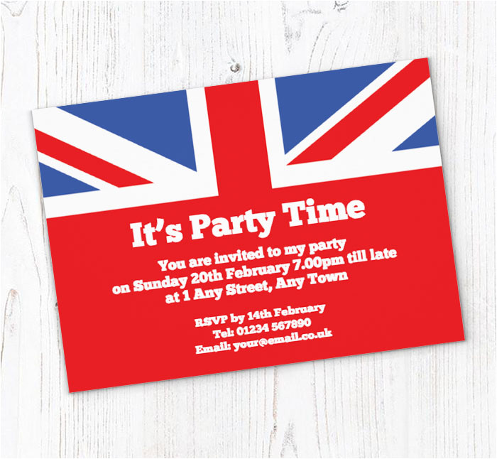 union jack party invitations