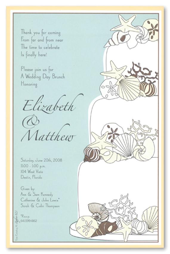 unique sea shells wedding invitation