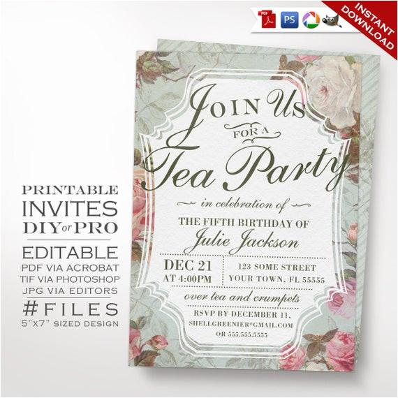birthday tea party invitation template