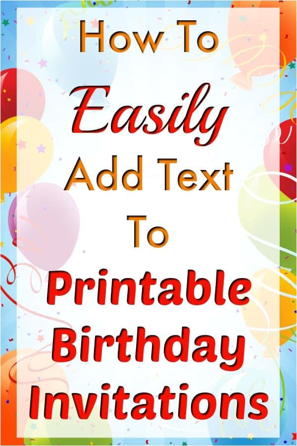 add text to birthday invitation templates