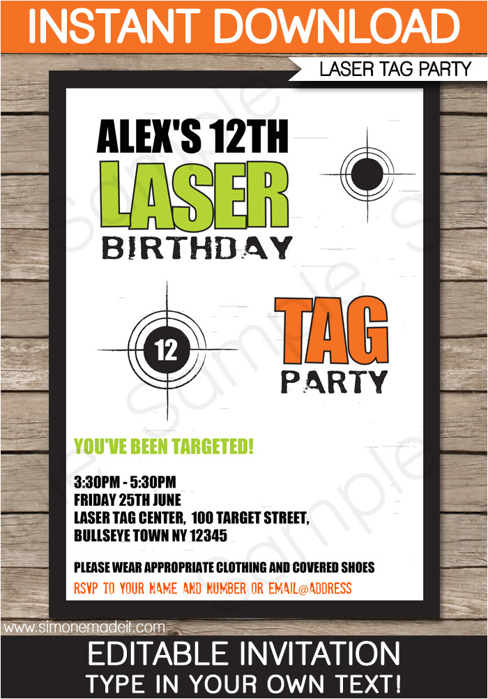 laser tag invitation template birthday party