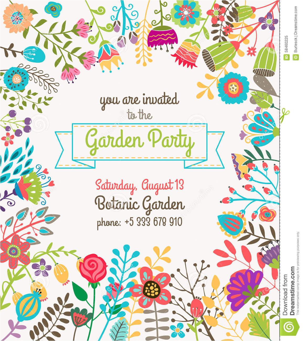 stock illustration garden summer party invitation template poster nature flower set design vector illustration plant image58460225