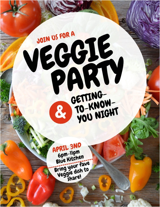 veggie vegetable party flyer design template