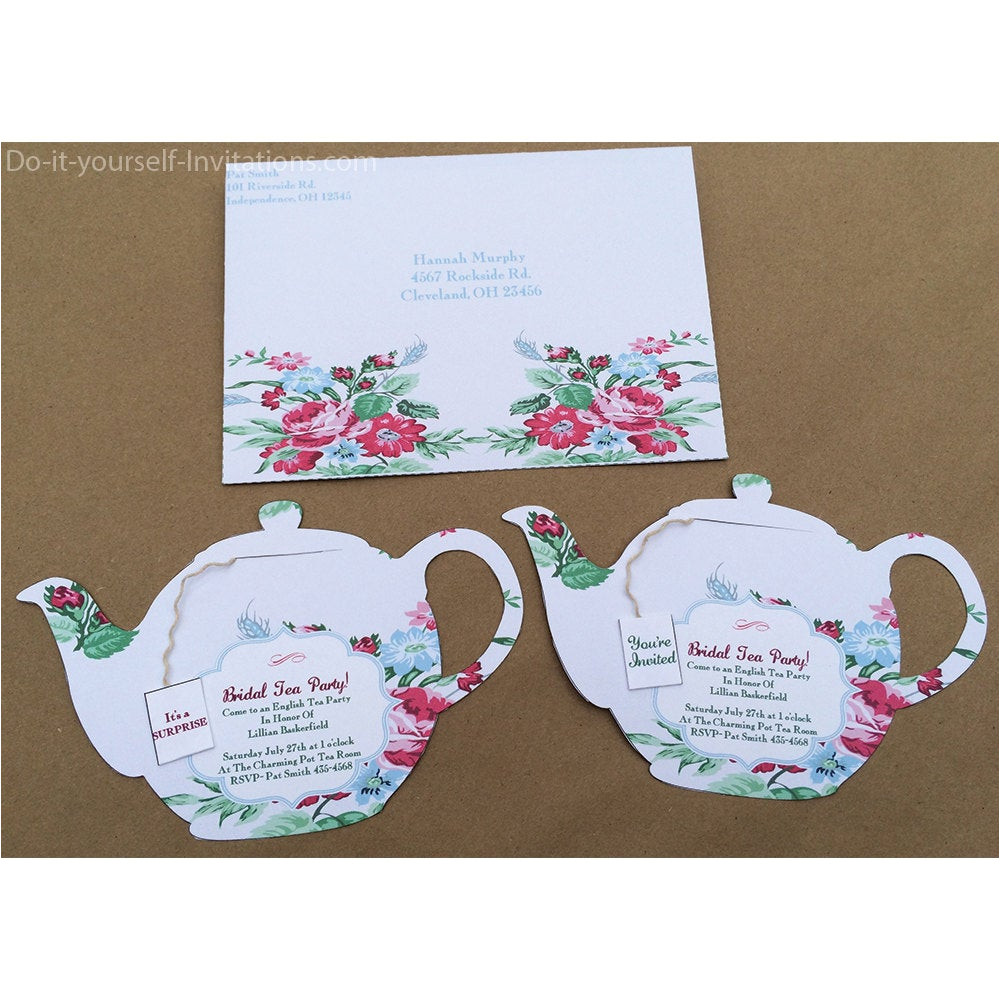 printable tea party invitation bridal