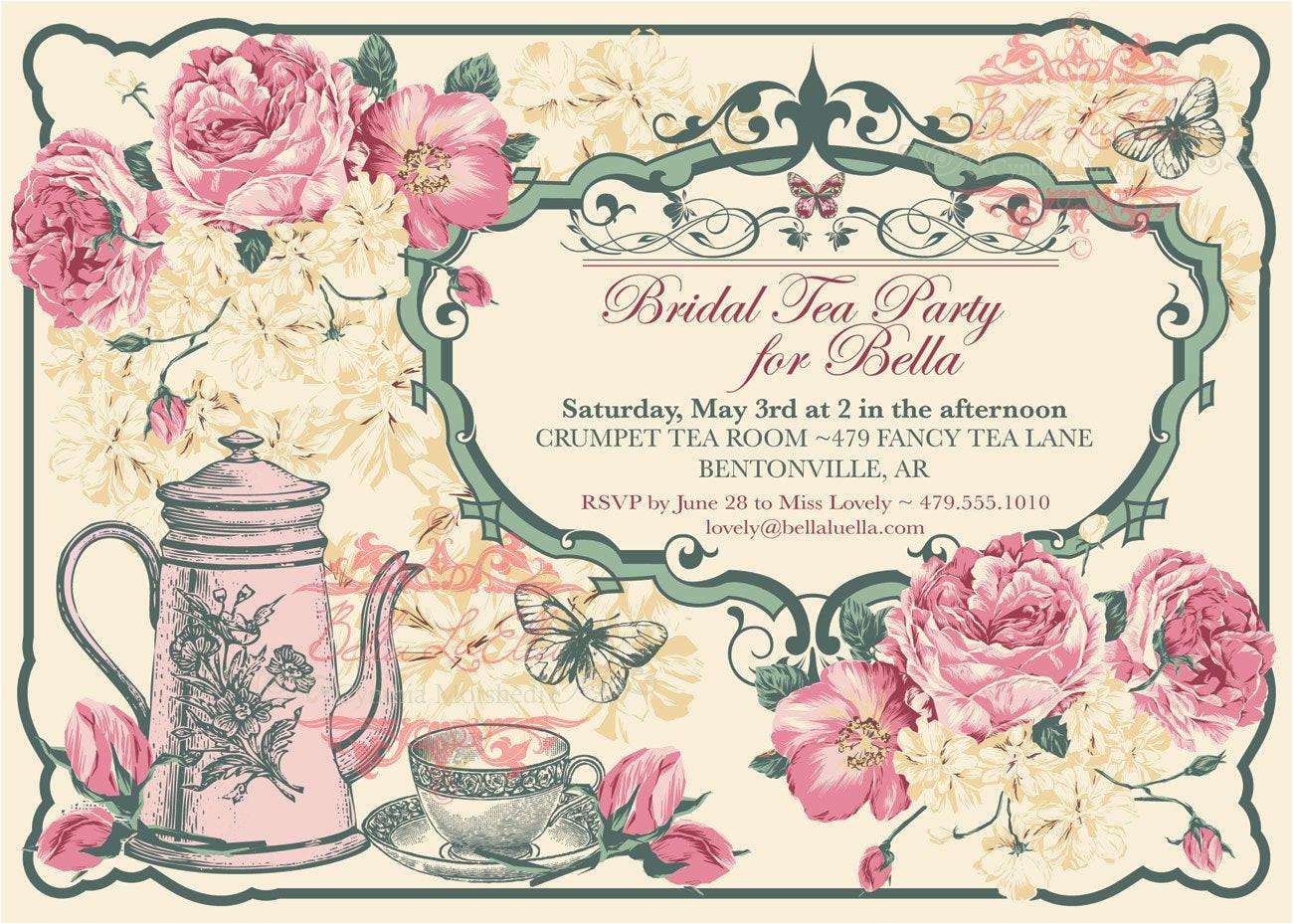 tea party invitation bridal tea party