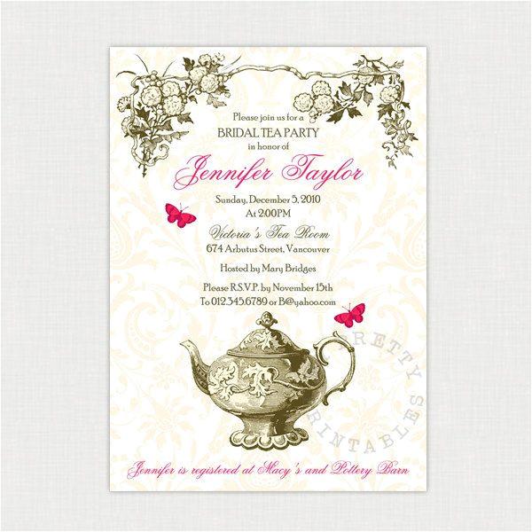 victorian tea party invitations