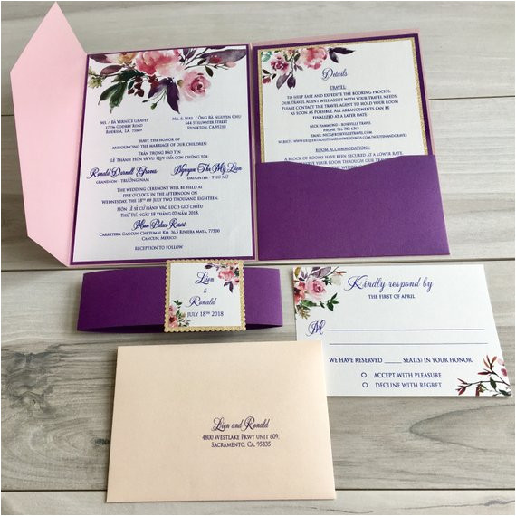 modern bilingual vietnamese english wedding invitations