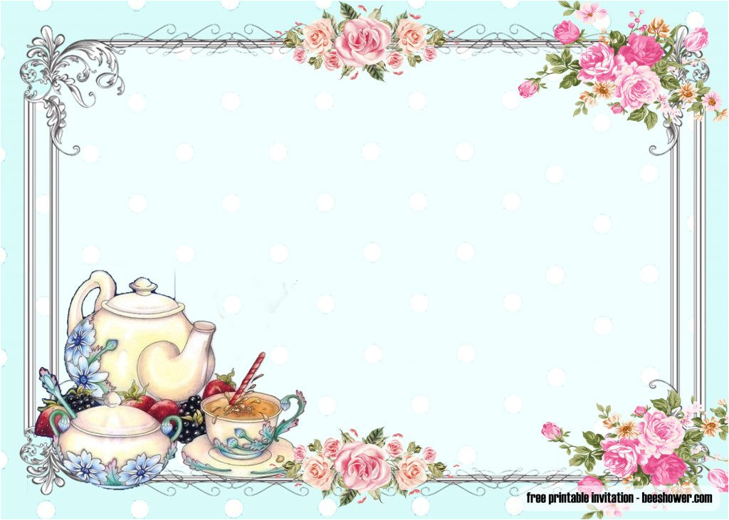 free vintage tea party baby shower invitations