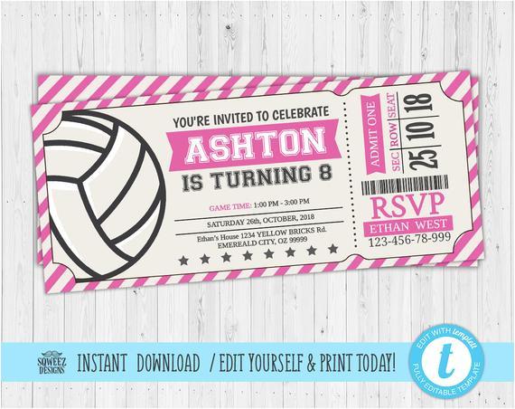 volleyball invitations volleyball birthday invitations volleyball