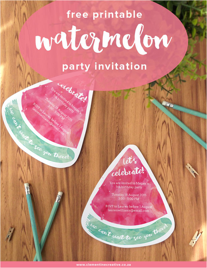 free printable watermelon party invites