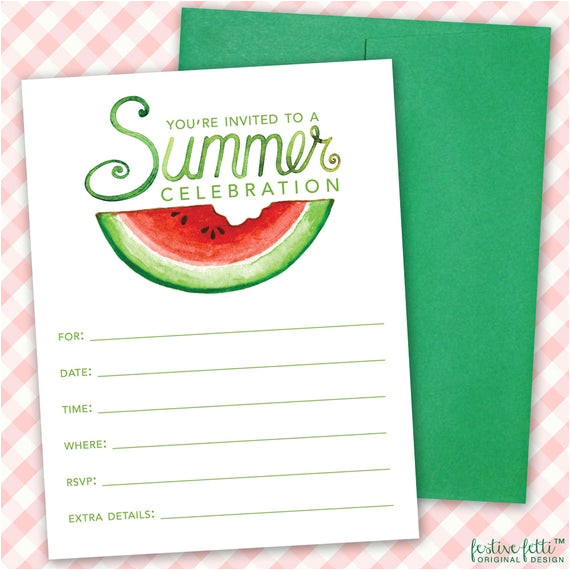 printable watermelon birthday party invitation summer