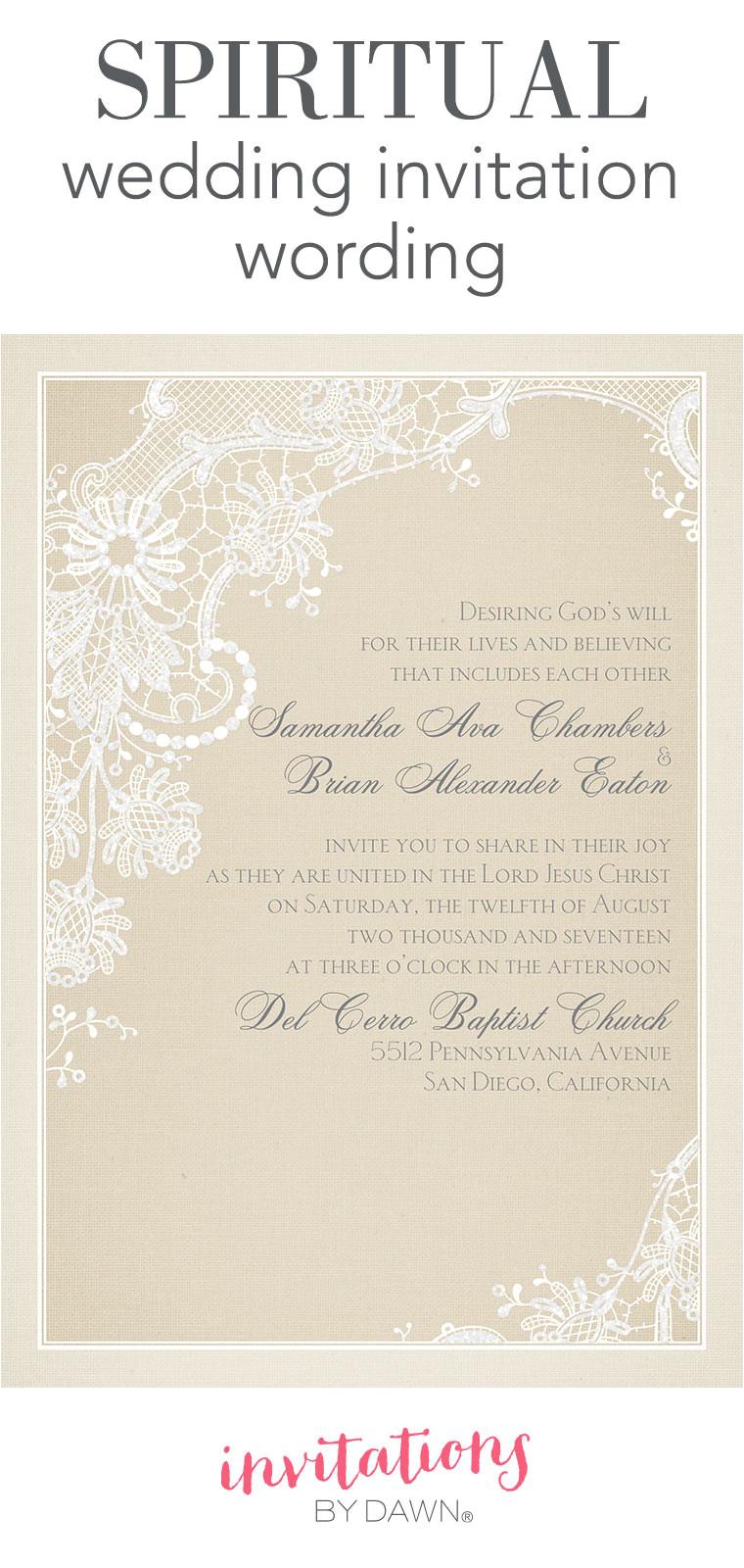 spiritual wedding invitation wording