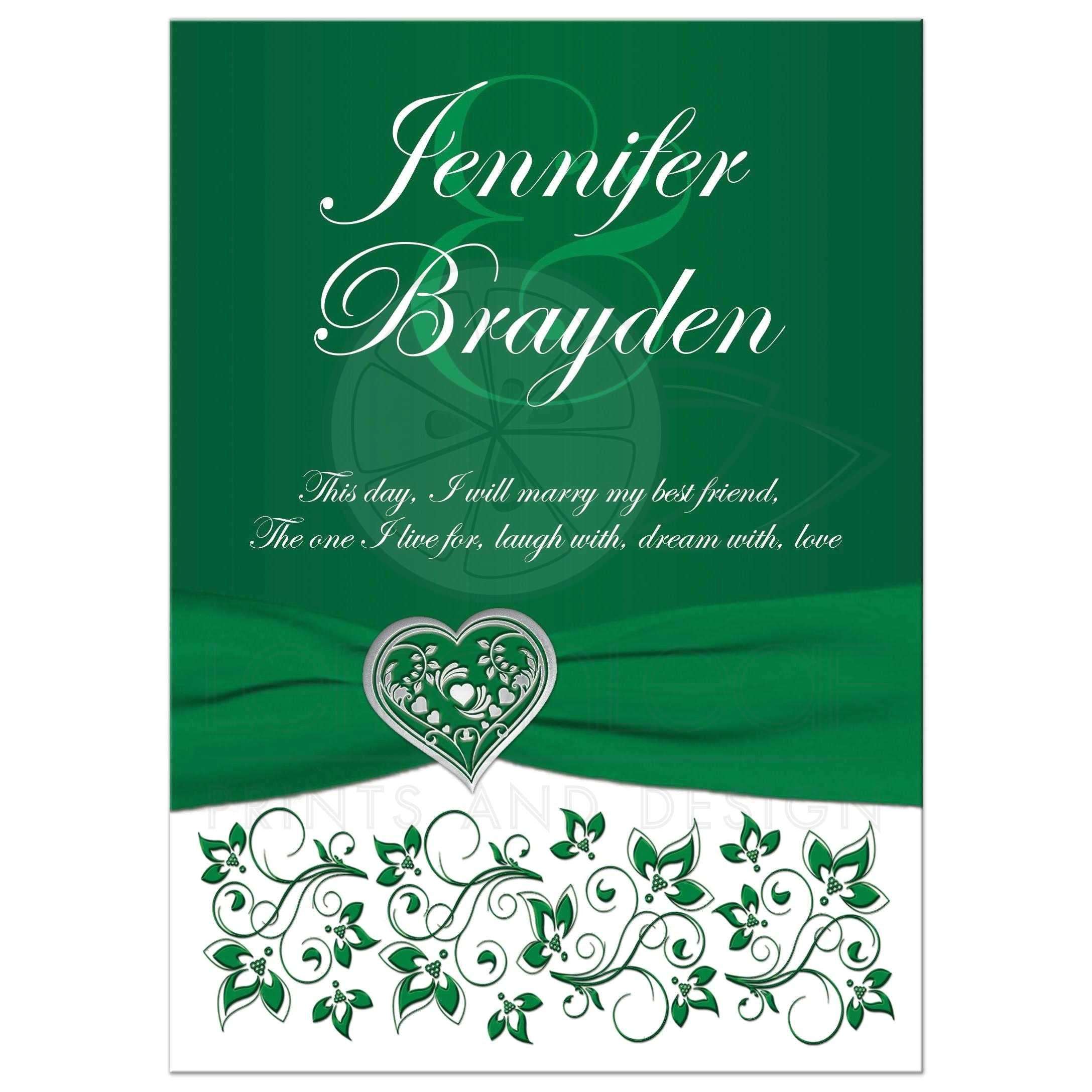 emerald green heart of love wedding invite printed on ribbon