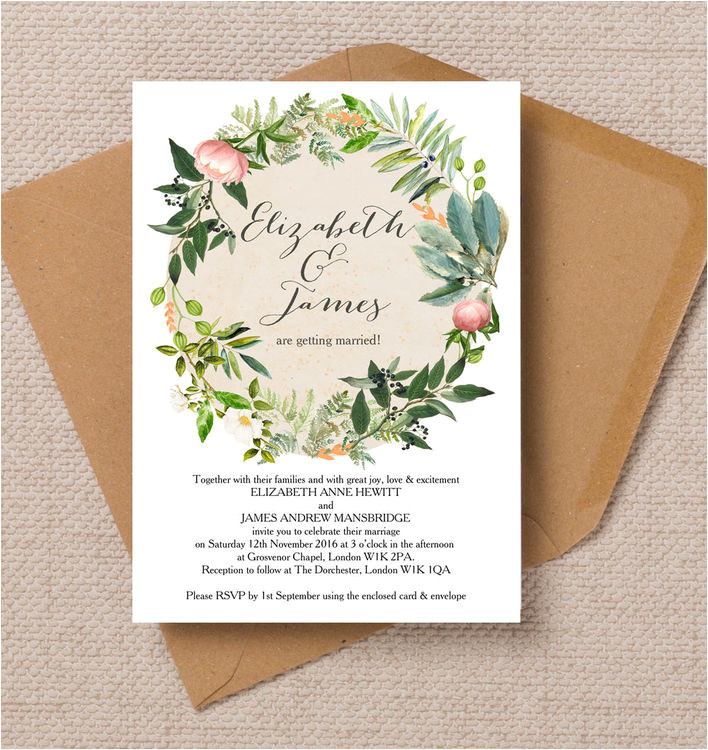 flora wreath invitation
