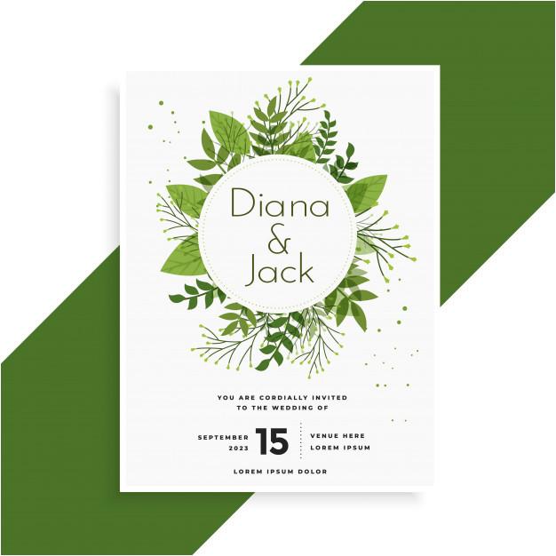 green leaves wedding invitation card design 2841782
