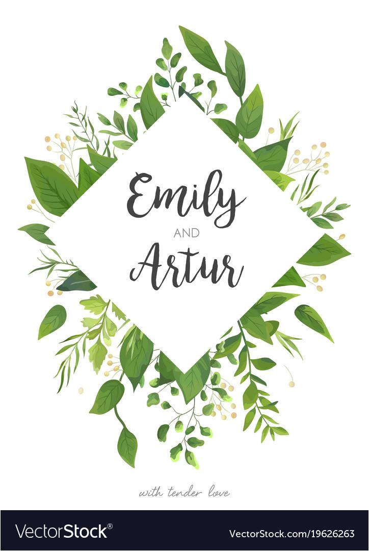 green wedding invitation floral invite card design vector 19626263