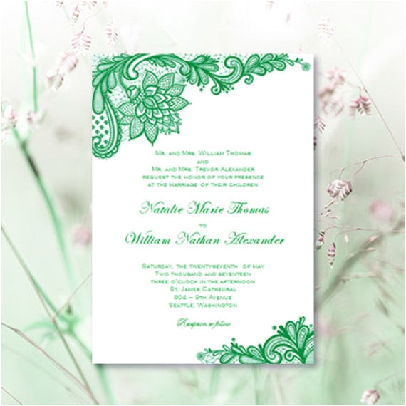 vintage lace wedding invitations emerald