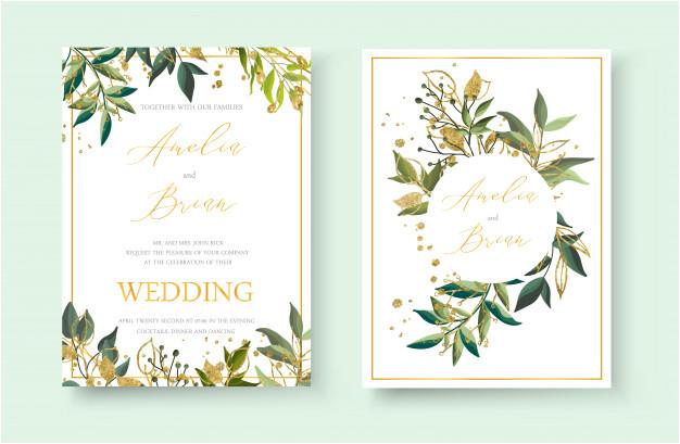 wedding floral golden invitation card envelope save date minimalism design with green tropical leaf herbs gold splatters botanical elegant decorative vector template watercolor style 5042217