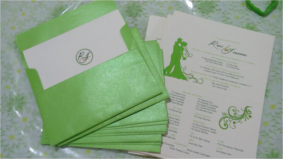 wedding invitations apple green motif