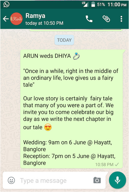 wedding invitation message to friends on whatsapp