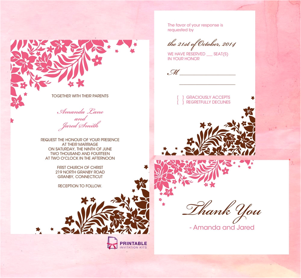 pink brown foliage wedding invitation