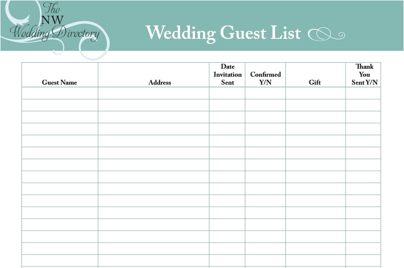 30 free wedding guest list templates 1175