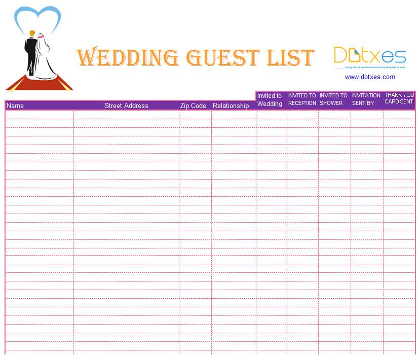 blank wedding guest list