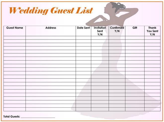 wedding guest list templates