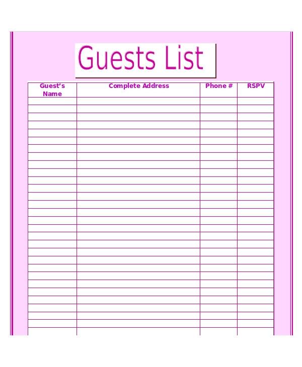 printable wedding guest list templates