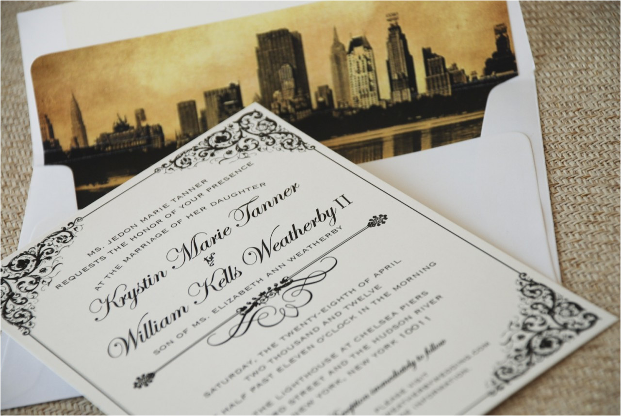 vintage filigree wedding invitation new york city