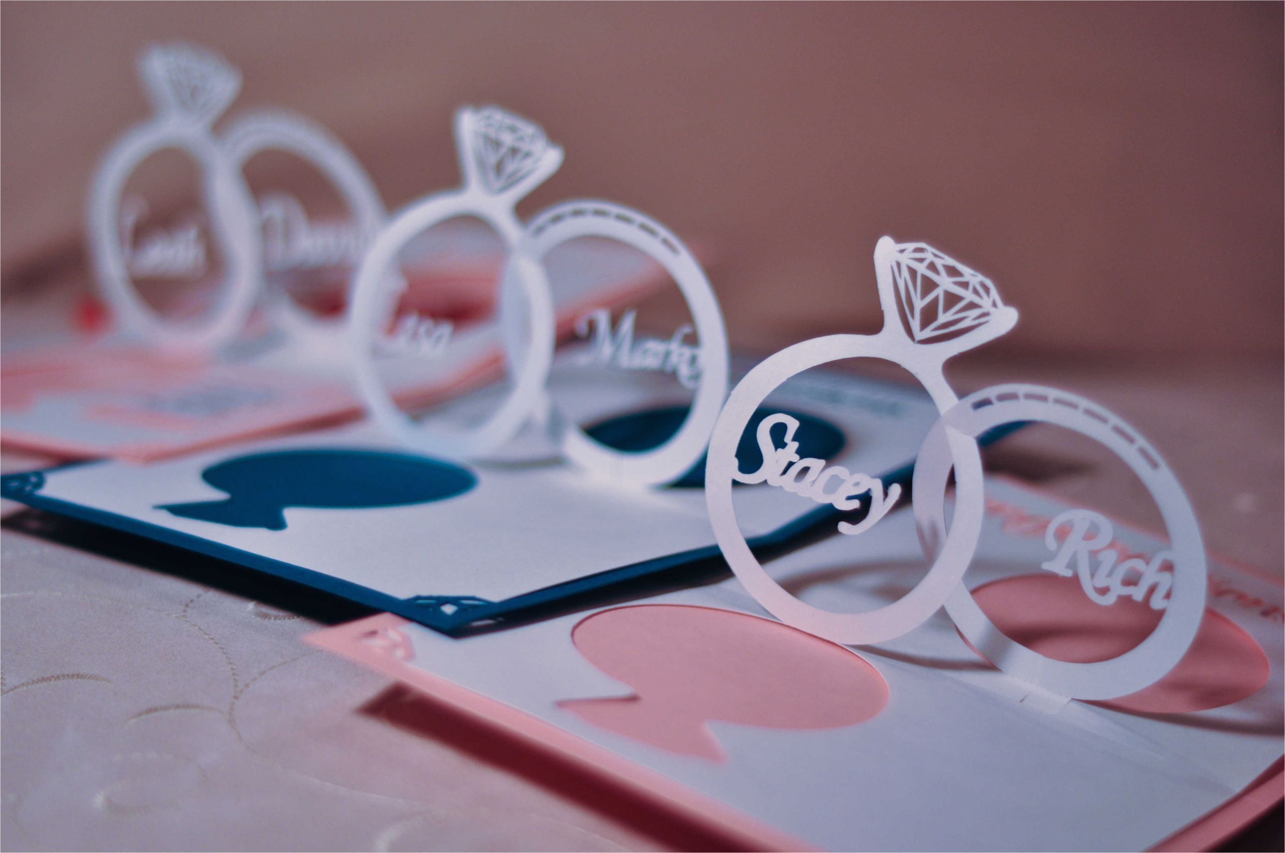 wedding invitation linked rings pop up card template