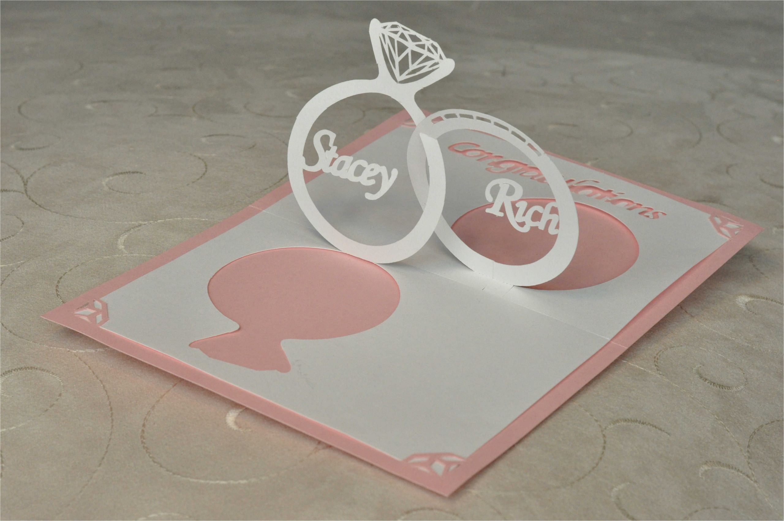 wedding inviationpop up card linked rings
