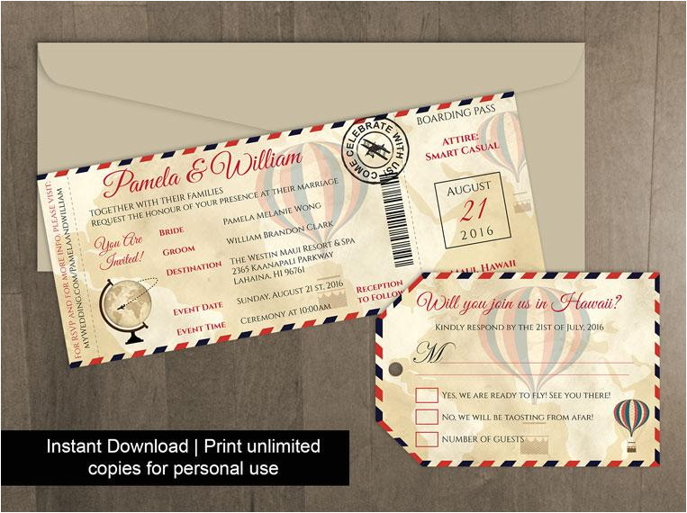 diy printable wedding boarding pass luggage tag template invitation editble ms word file instant download vintage