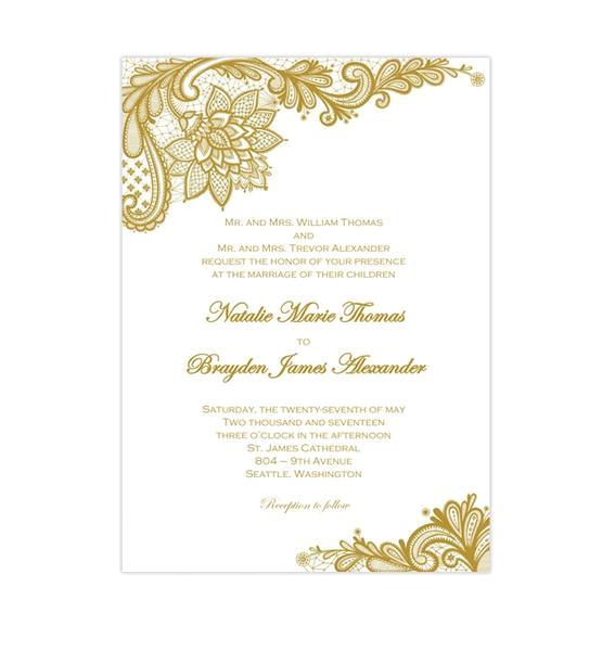 gold vintage lace wedding invitations diy printable templates