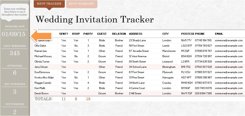 wedding invitation list template
