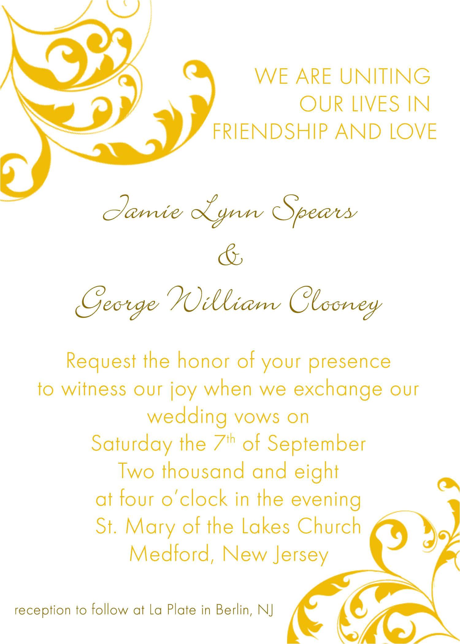 wedding invitation wording templates free