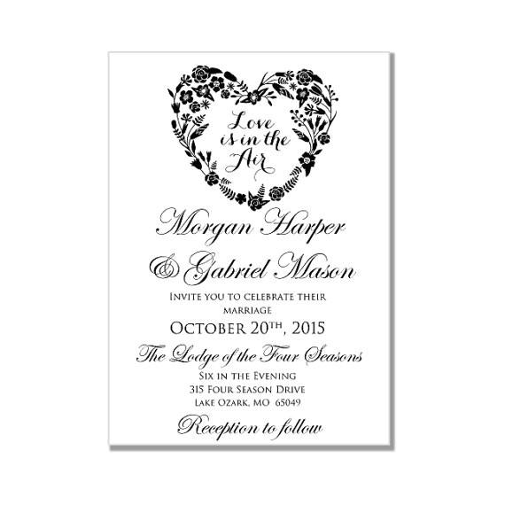 wedding invitation template love is in the air heart wedding invitation instant download diy wedding invitation microsoft word