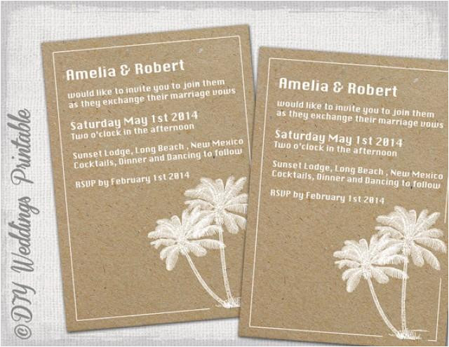 printable beach wedding invitations template quotdestinationquot you edit instant download invite white palm trees on kraft digital word jpg