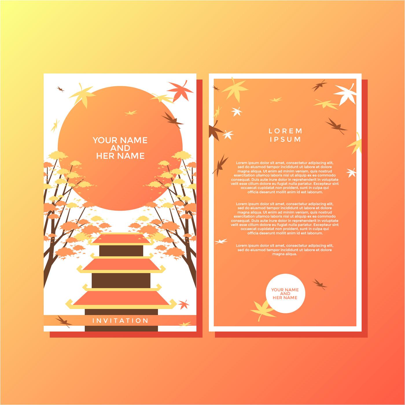 227820 autumn japanese style invitation template vector